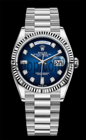 Rolex Day-Date  White Gold Blue Ombre Diamond Dial Swiss Watch Price in Pakistan