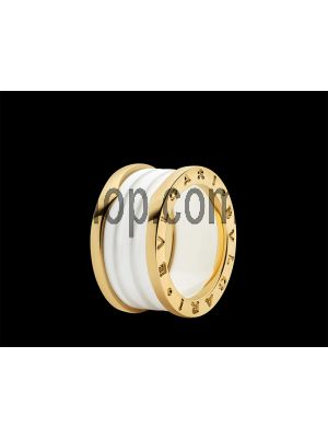 BVLGARI B.Zero1 4-Band Gold and White Ceramic Ring Price in Pakistan