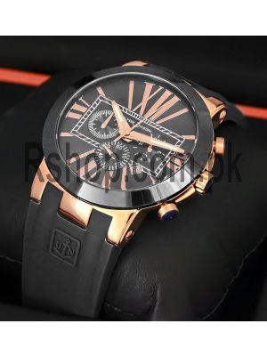 Ulysse Nardin Executive Dual Time Blue Ceramic Bezel Black Dial Watch Price in Pakistan