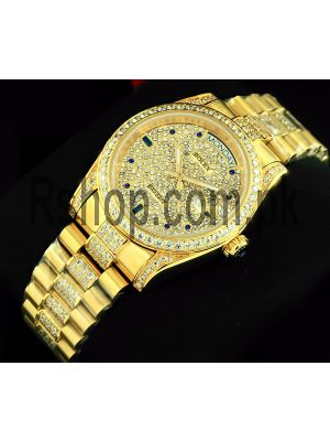 Rolex Day-Date Gold Diamond Pave Dial Watch Price in Pakistan